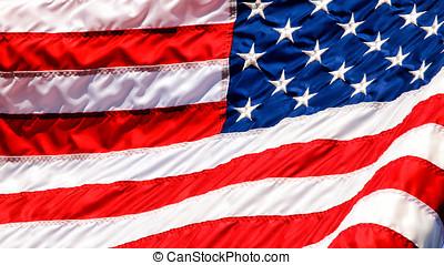 bandiera usa, ondeggiare, closup