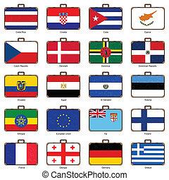 bandiera, valigia