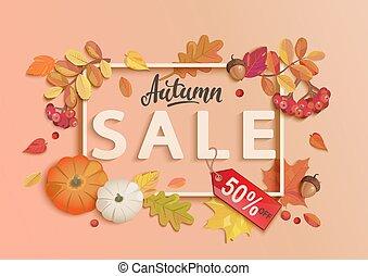 bandiera, vendita, elements., cadere, cornice, autunno