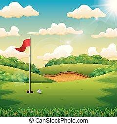 bandiera verde, palla, golf, collina
