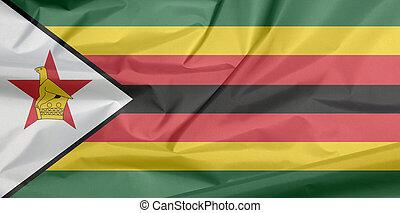 bandiera, verde, star., giallo, piega, fondo, zebrato, uccello, black-edged, nero, bianco, zimbabwean, zimbabwe., tessuto, sette, rosso, orizzontale