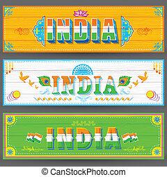 bandiera, vernice, stile, india, camion
