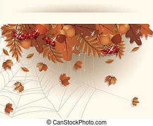 bandiera, vettore, autunno, stagionale