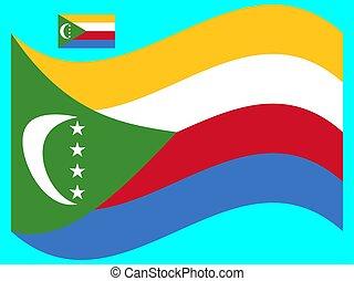 bandiera, vettore, eps, illustrazione, comore, onda, 10