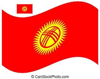 bandiera, vettore, eps, illustrazione, kyrgyzstan, 10, onda
