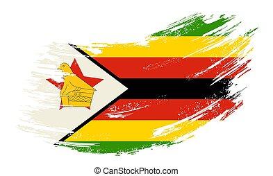 bandiera, vettore, illustration., zimbabwean, fondo., grunge, spazzola