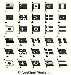 bandiera, vettore, nero, set, icona