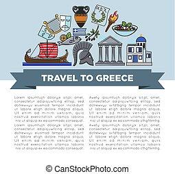 bandiera, viaggiare, simboli, greco, viaggiare, grecia, turismo