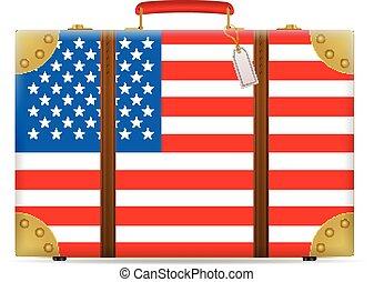 bandiera, viaggiare, stati uniti, valigia