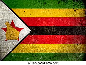 bandiera, zimbabwe, grunge