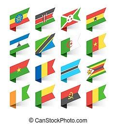 bandiere, africa, mondo