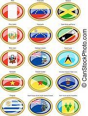 bandiere, amer, centrale, sud