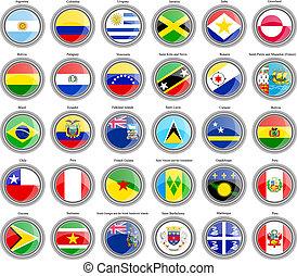 bandiere, america., centrale, sud