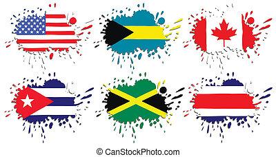 bandiere, america, nord, macchie