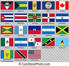 bandiere, america., nord, tutto