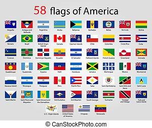 bandiere, america, -, pieno, vettore, collezione, appartamento, rotondo