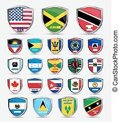 bandiere, america, schermi, nord, paesi