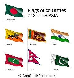 bandiere, asiatico, sud, paesi