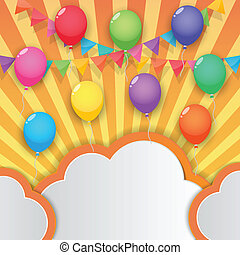 bandiere, balloon, cielo, fondo, festa