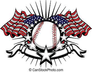bandiere, baseball, stelle
