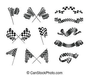 bandiere, checkered, set
