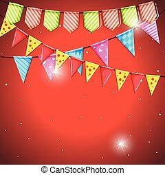 bandiere, cielo, sagoma, fondo, rosso