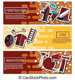 bandiere, circa, set, pompiere, orizzontale