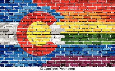 bandiere, colorado, gaio, parete, mattone
