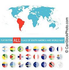 bandiere, completo, sud america, set, mondo, appartamento, rotondo, mappa