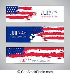 bandiere, con, americano, flag., giorno indipendenza,...