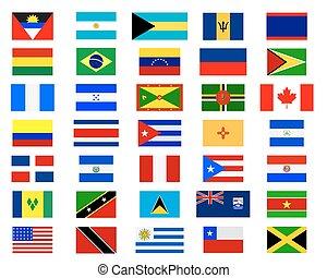 bandiere, di, americas