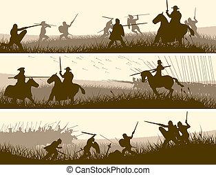 bandiere, di, medievale, battle.