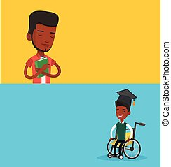 bandiere, educativo, text., due, spazio