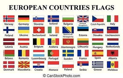 bandiere europee, nomi, paesi