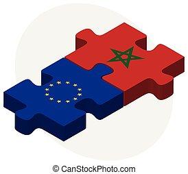 bandiere europee, puzzle, marocco, unione
