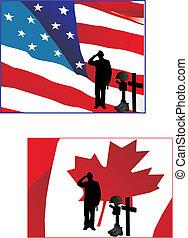 bandiere, fare il saluto militare, loro, soldato