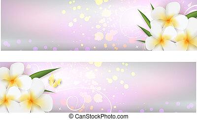 bandiere, fiori, plumeria