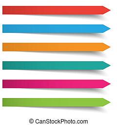bandiere, frecce, colorato, lungo, 6