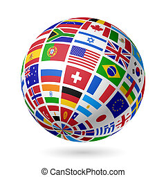 bandiere, globo