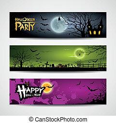 bandiere, halloween, felice
