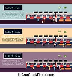 bandiere, insieme treno, sottopassaggio