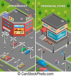 bandiere, isometrico, negozio, costruzioni, verticale