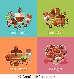 bandiere, meglio, dieta, cioccolato