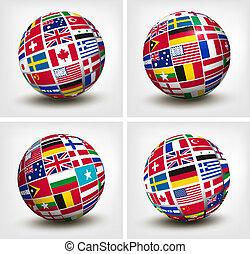 bandiere mondo, in, globe., vettore, illustration.