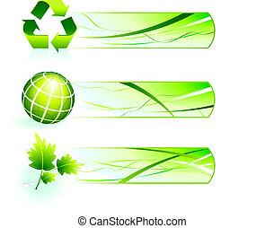 bandiere, natura, verde, icone
