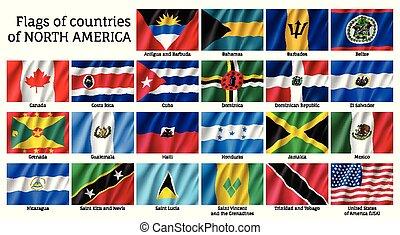 bandiere, nazionale, america, nord, paesi
