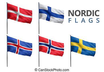 bandiere, nordico, scandinavo