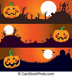 bandiere, notte halloween