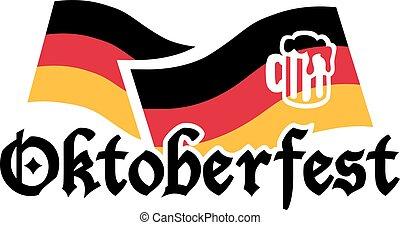 bandiere, oktoberfest, tedesco