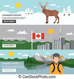 bandiere orizzontali, viaggiare, set, canada